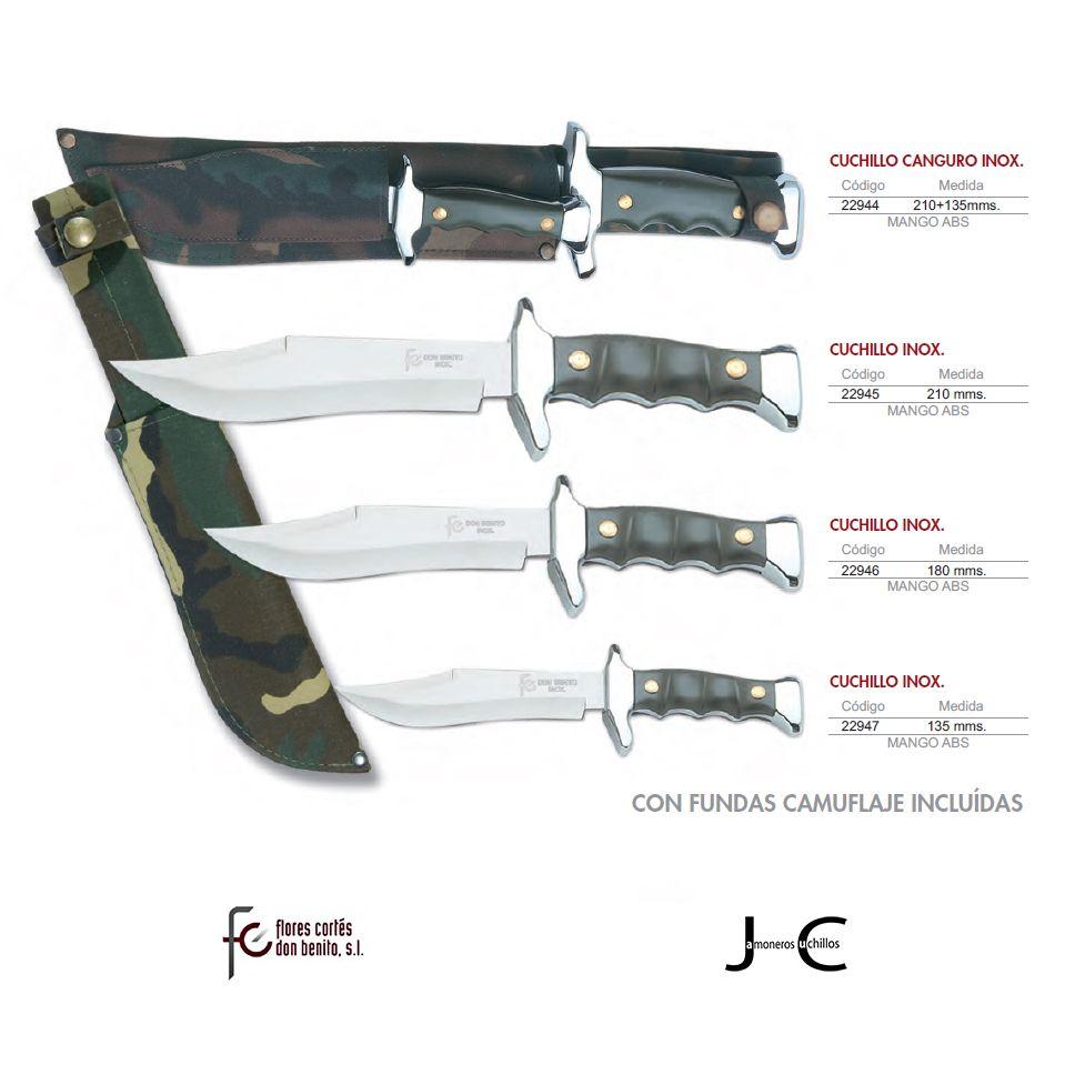 Cuchillos canguros hoja acero inoxidable mango ABS camuflaje Flores Cortés