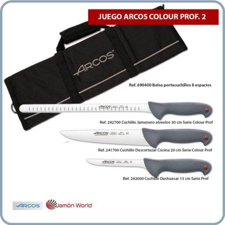 Juego cuchillos con bolsa para corte jamon Arcos Colour Prof 2