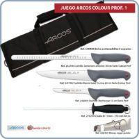Juego cuchillos y accesorios para corte jamon Arcos 3 Colour Prof 1