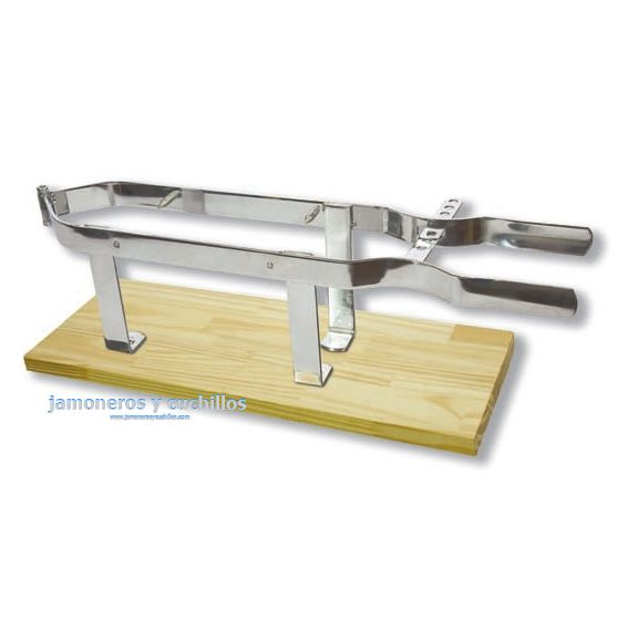 Soporte jamonero modelo pinza acero inoxidable base de madera