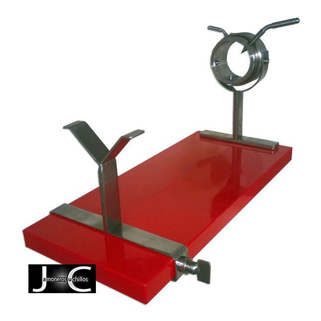 Soporte jamonero giratorio rojo modelo olimpico Virutas de Jamón