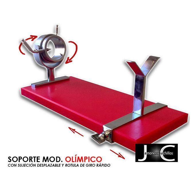 Soporte jamonero giratorio rojo modelo olímpico Virutas jamón