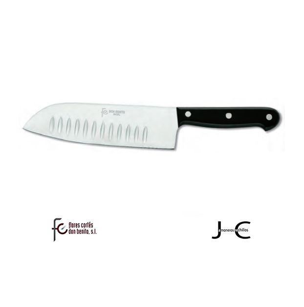 Cuchillo de cocina Santoku con alveolos hoja inoxidable Flores Cortés 180 mm 21312