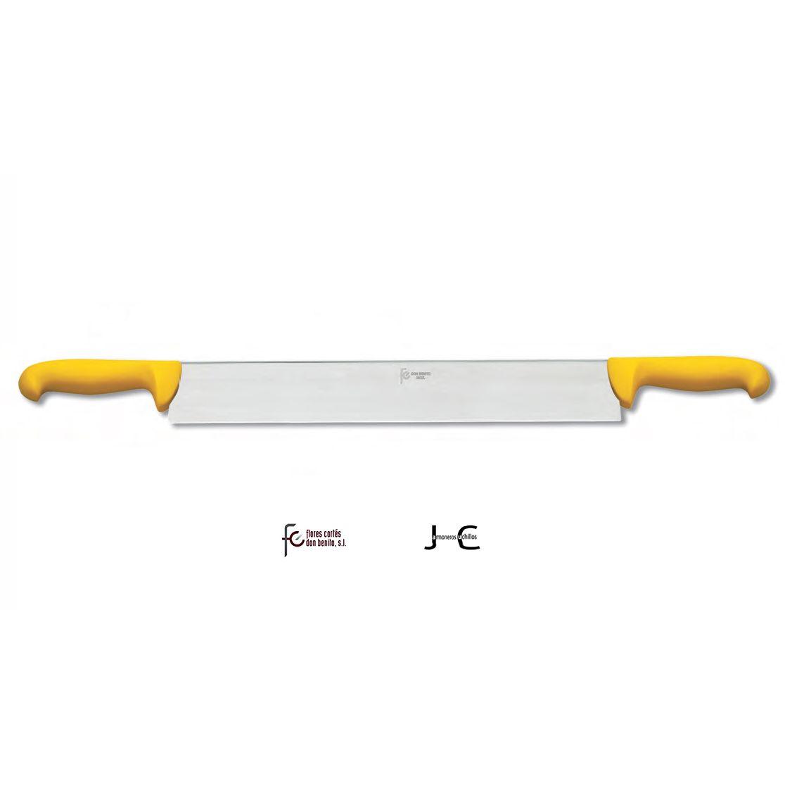 Cuchillo del queso inox. dos mango amarillo 300 mms