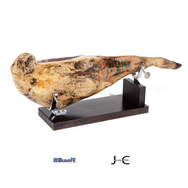 Jamonero bodega madera lacado wengué con jamon Buarfe