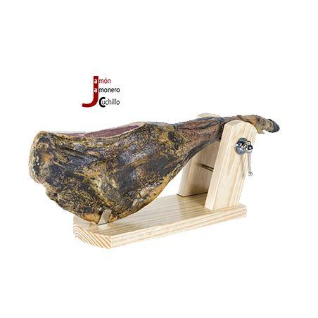 soporte jamonero con jamon Buarfe rioja madera en nogal 8921 jamon jamonero cuchillo