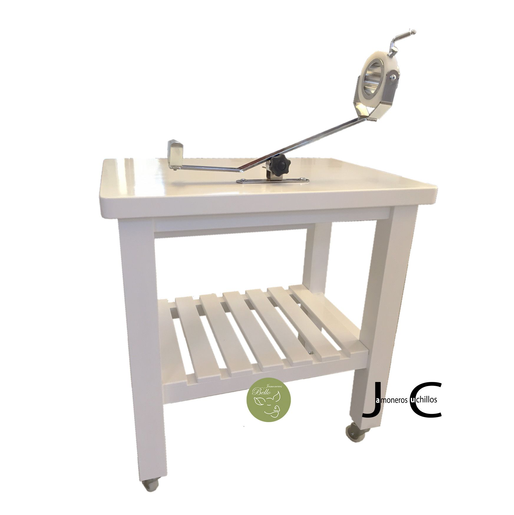 mesa jamonera bello blanca