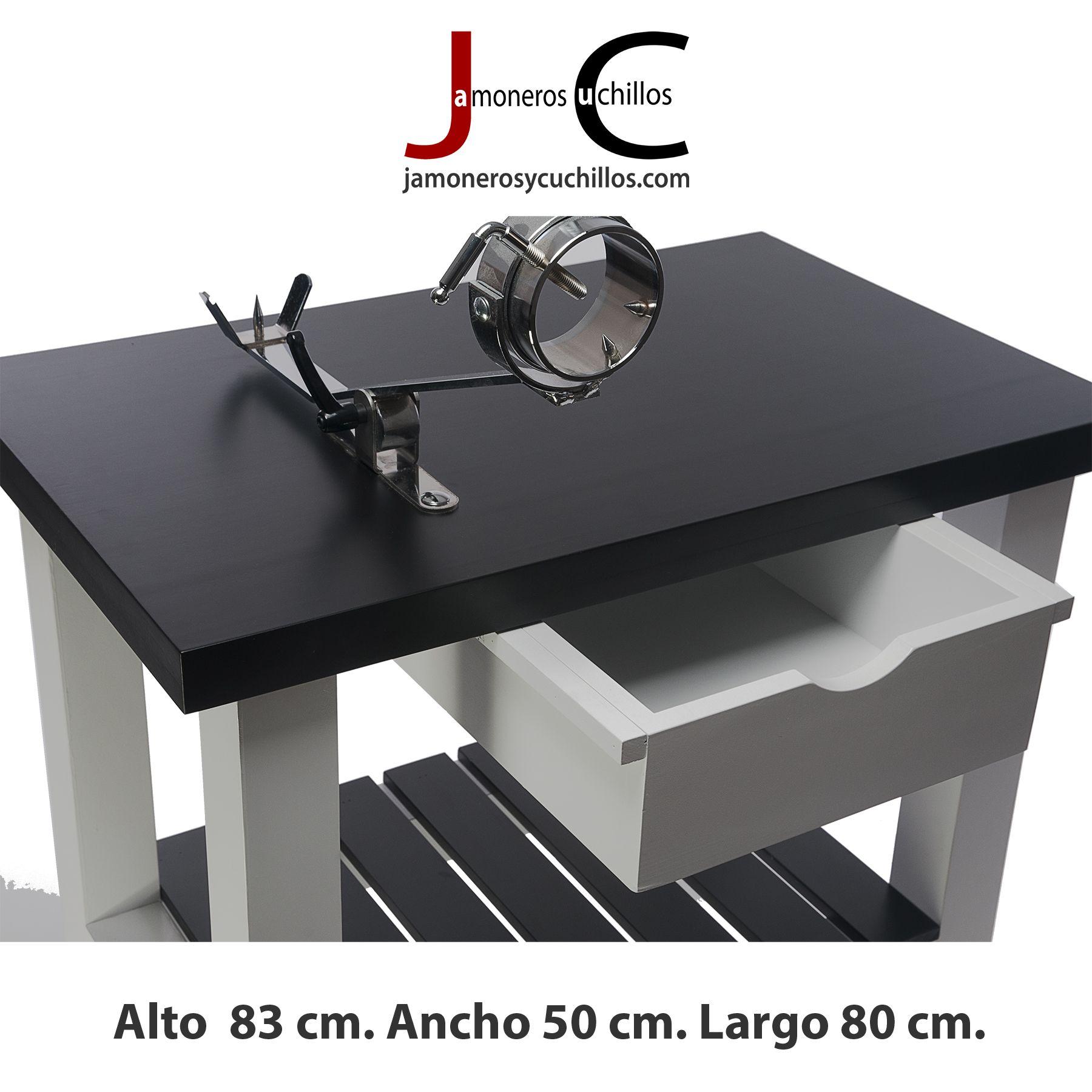 mesa jamonera lacada colores blanco y negro con jamonero balancin