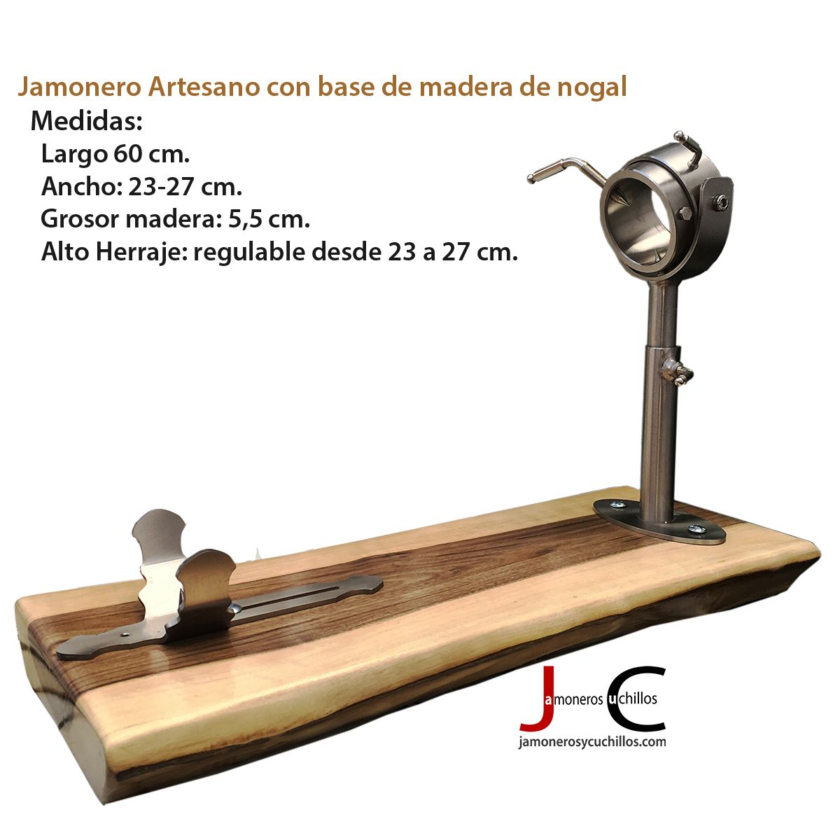 jamonero artesano giratorio regulable base nogal 1