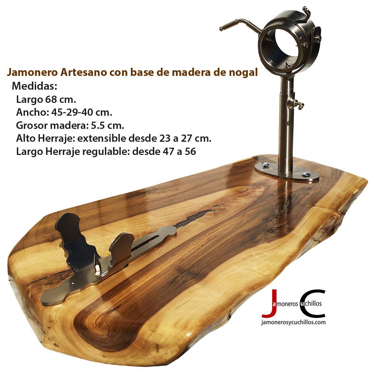 jamonero artesano giratorio regulable de nogal 3 ANCHO 45 cm