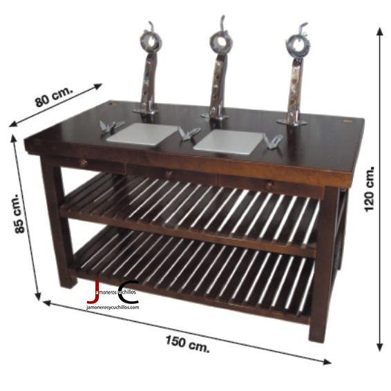 mesa jamonera Jamones con tres soportes giratorios
