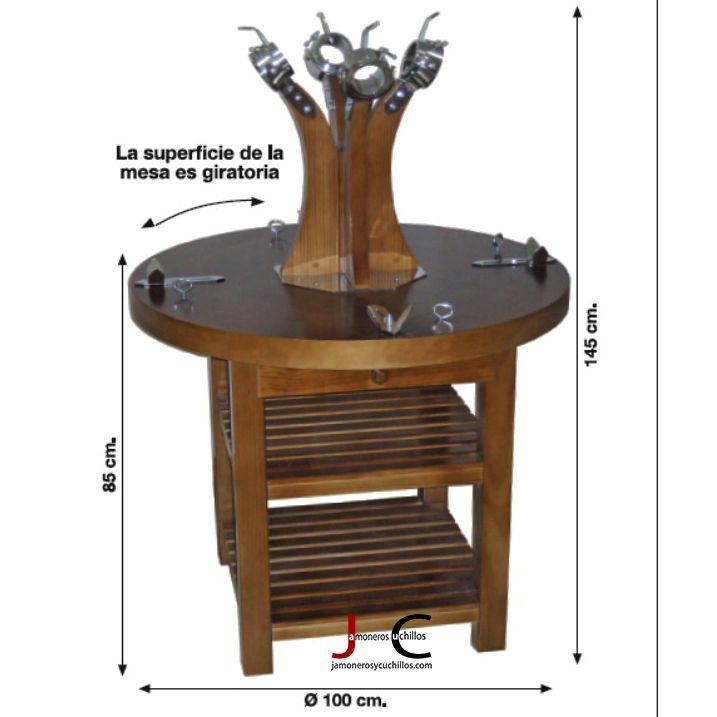 mesa jamonera redonda con 4 Jamones con soportes giratorios