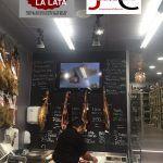 Tienda Gourmet La Lata mesa jamonera doble jamoneros y cuchillos 10