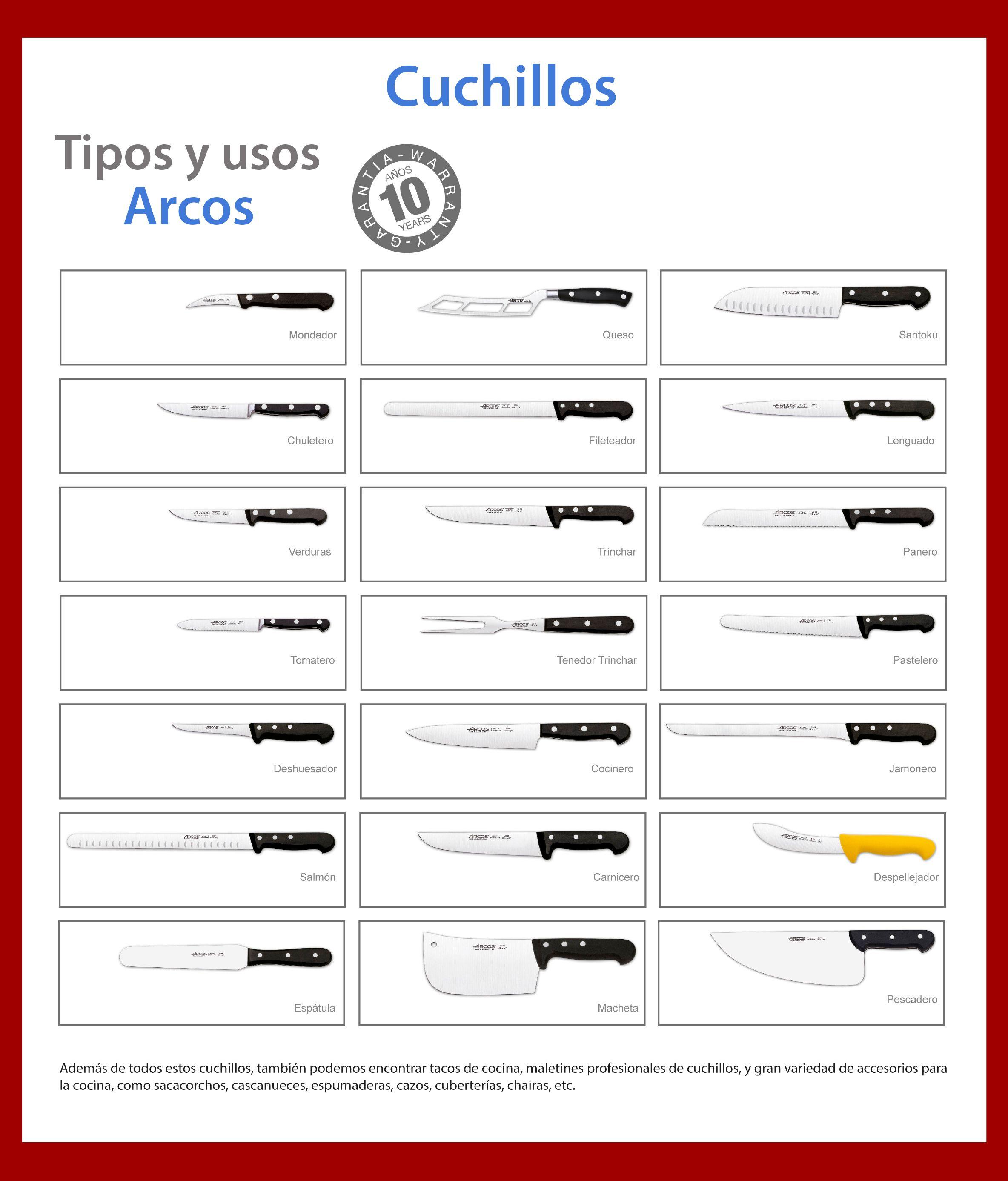 Tipos y usos de cuchillos Arco