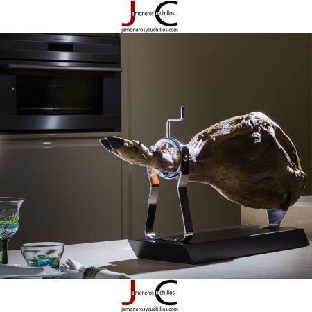 jamonero A8 base madera en negro jamoneros y cuchillos