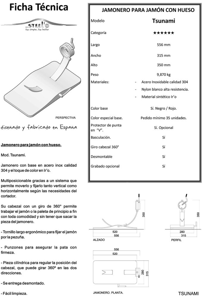 Ficha técnica jamonero Tsunami