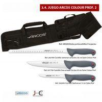 Juego cuchillos y bolsa para corte jamon Arcos 3 Colour Prof 1
