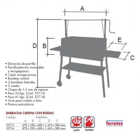 Barbacoa cadena elevacion parrilla ruedas y apoyos FERRETEX 33713_14