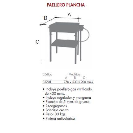 Plancha cocina con paellero gas sin ruedas_detalle medidas FERRETEX 33701