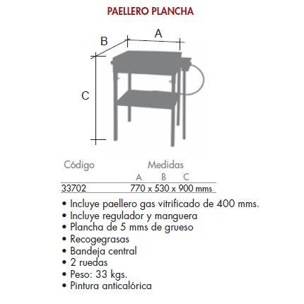 Plancha cocina con paellero gas sin ruedas_detalle medidas FERRETEX 33702