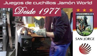 Juego cuchillo corte jamon Jamon World San Jorge