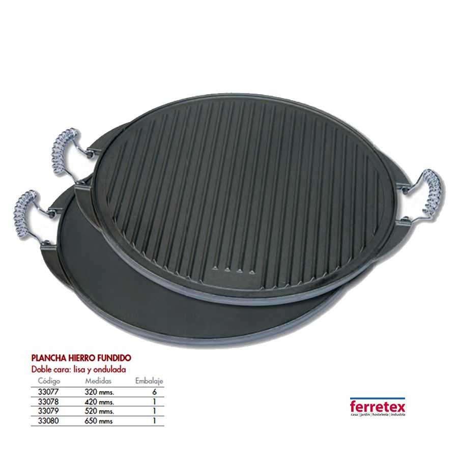 Plancha cocina maciza hierro lisa y ondulada redonda FERRETEX 30077 a 30080