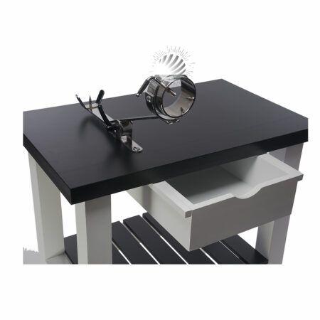 Detalle mesa jamonera blanca y negra con jamonero giratorio y balancin