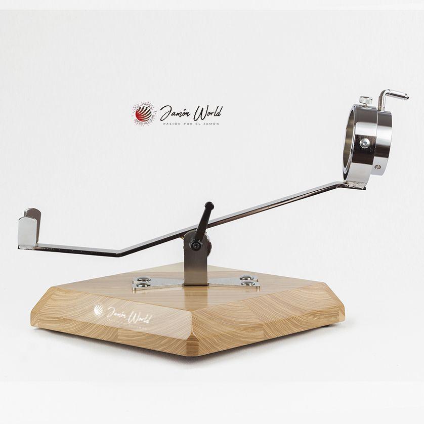 Jamonero Rombo balancin giratorio base fresno
