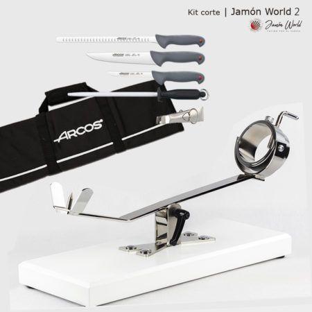 Kit 2 corte jamón con jamonero blanca y juego cuchillos Arcos