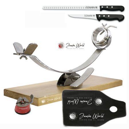 Conjunto corte jamón 17932 inox con cuchillos y afilador Flores Cortés
