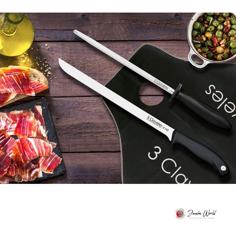set cuchillo jamonero con chaira 3 Claveles 01721