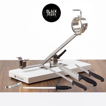 Jamonero balancíngiratorio con base DM lacada en color negro con juego de corte jamón de Jamón World, con cuchillos, chaira y pinzas para coger jamón.